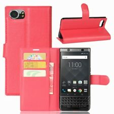 BlackBerry KEYone Wallet Case Litchi Grain Magnet Innenfach Etui Hülle Bag Rot