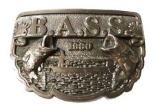 Vintage BASS Anglers Sportsman Society Fishing Boat Brass Belt Buckle 1990 USA