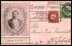 1903 Uruguay president Batlle visit to Liebig meat Factory special postcard RR