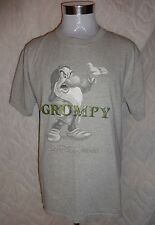 Disney Store GRUMPY Graphic T- Shirt Size L Large Gray Tee Green Puff Lettering