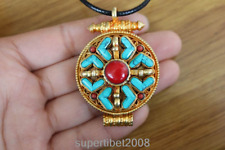 PN141 Ethnic Tibet Gold Plated Turquoise Coral 37mm Prayer Box Pendant Necklace