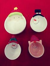 Christmas Measuring Cups. Santa, 2 Snowmen and Elf 4 pc Porcelain Mint Condition