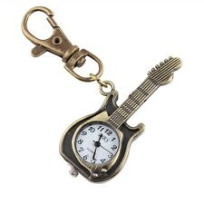 Cute Antique Bronze Tone Guitar Pocket Quartz Pendant Key Ring Watch Kids Gift