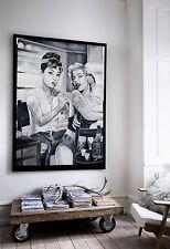 XXL LEINWAND 135x100x5 Audrey Hepburn u Marilyn Monroe BILD IKEA SCHWARZ-WEISS