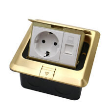 EU Standard Home Use Pop Up Floor Socket + RJ45 Copper Electrical Outlet 2 Way