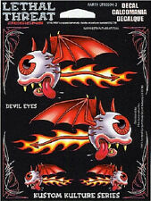 Pegatinas set Rojo diablo ojo 12x7cm Red Devil Eyes decal bike trike casco Tank
