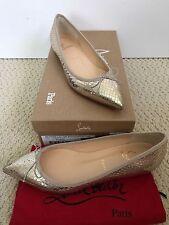 NIB Auth Christian Louboutin Solasofia Gold Snake Bow Pointed Toe Flats 37.5 7.5