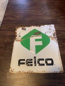 Vintage Single Sided Felco Seed Steel Sign 15 x 13 Inch Farm Barn Rustic