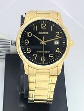 Casio Analog Water Resistant Date display Gold tone Stainless Steel MTP-V002G-1B