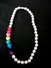 Silikon Halskette Kette metallfrei ohne Metall weiß Regenbogen Herzen 70 cm Neu