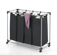 Black Heavy-Duty 4-Bag Laundry Sorter Hamper Clothes Organizer