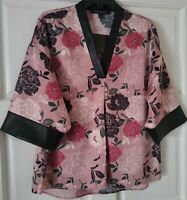 Marc New York Floral Women's Blouse Mauve Leather Hem Sleeve SIZE M Free Shippin