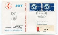 FFC 1970 Lot First Direct Flight Geneve Varsovie Pologne REGISTERED Helvetia