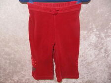 "Gymboree ""Peruvian Doll"" Red Velour Floral Pants, 6-12 mos."
