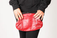 80s vintage red leather clutch bag black lucite frame