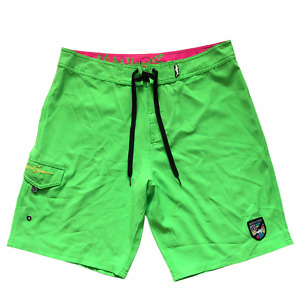 Maui And Sons Black Shark 4 Way Stretch Men's Surf Board Shorts Size 34 Elastic