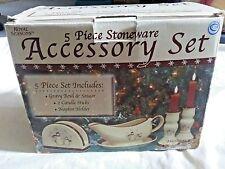 Royal Seasons 5 pc Stoneware Accessory Set Snowman Christmas Candle Stick Box
