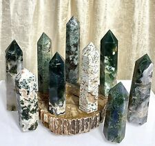Wholesale Lot 2 Lb Natural Moss Agate Obelisk Tower Point Crystal Healing