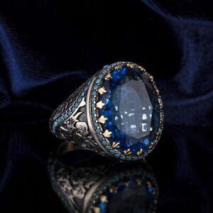 Silver men's ring Turkish handmade jewelry aquamarine all size