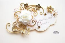 3D WEDDING DAY CARD CRAFT TOPPER, EMBELLISHMENT  WED-DAY-2 Cream/Gold