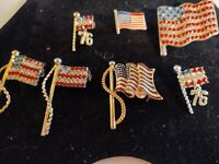Vintage Jewelry Estate Lot Patriotic American Flag Red White Blue Pin Brooch