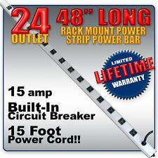 24 OUTLET 48 inch LONG  RACK MOUNT POWER STRIP POWERBAR PDU - LIFETIME WARRANTY