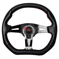 350mm JDM Racing Sports Black Steering Wheel Red Stitch Horn Button For Acura