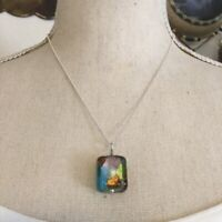 Handcrafted glass pendant on 925 sterling chain