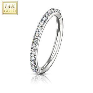Piercing Ring Ear Gold White 14 Carat Pad Gem