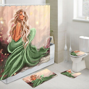 Myths and Legends Mermaid Shower Curtain Toilet Cover Rug Mat Contour Rug Set