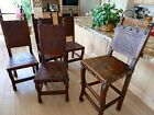 1990s Vintage Peruvian Leather Embossed Table Chairs