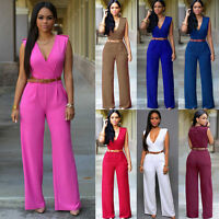 Womens Summer Sleeveless V Neck Playsuit Bodycon Party Jumpsuit Romper Trousers