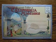 **Vintage California Spanish Missions Post Card Folder 18 Hand Colored Views**