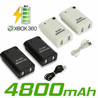 2 Pack Rechargeable Battery + Charger Cable for XBox 360 Wireless Controller US