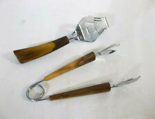 Vintage Bottle/Can Opener and Tongs with Butterscotch Swirl Bakelite Handles
