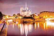 Stunning Notre Dame Cathedral Postcard, River Seine, Lights, Paris, France 12P
