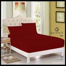 Draps-housses rouge pour le lit en 100% coton, 200 cm x 200 cm