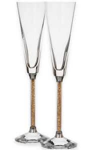 Wedding Toasting Flutes Crystal Diamond Gold Champagne Glasses Party Gifts Set 2