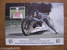 carte postale Postcard photo MOTO DRAGSTER KAWASAKI PRIMAGAZ Philippe BERTE