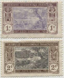 Ivory Coast 1913 43,43 1c,2c river scene