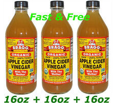 Apple Cider Vinegar Bragg Organic Usda Mother Raw Unfiltered 16 oz x 3 Pack Free