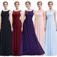 Womens Long Pleated Formal Evening Party Ball Gown Prom Bridesmaid Wedding Dress