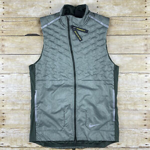 Nike Running Vest AeroLoft Mens Size Medium Green Reflective Trim BV4862-355
