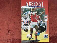 Arsenal v Crystal Palace 8 May 1993 Mint Free Post