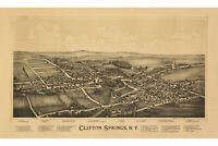 Clifton Springs, New York Antique Birdseye Map; 1892