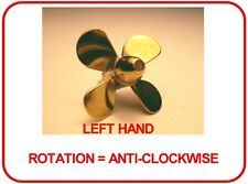 BRASS MODEL BOAT PROPELLER 25mm 4 BLADE LEFT HAND M2 ( CLOCKWISE ROTATION )