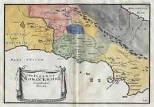 1717 Italy Roman Empire According to Florus Genuine Antique Map Hand Coloured