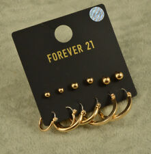 Forever 21 gold hoop and ball stud set of Earrings 6 pairs