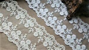 Embroidery Lace trim ribbon 10M Cream Ivory White wedding dress decoration