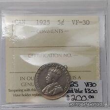 1925 Canada 5 Cents RARE ICCS VF-30 Book Value $300 #coinsofcanada